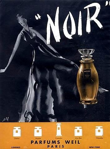 An advert for Weil's Noir scent.