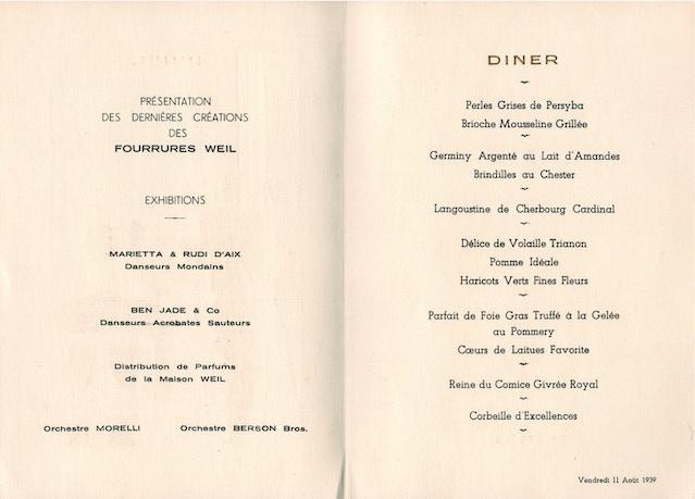 Interior of Fourrures Weil's 1939 dinner menu.