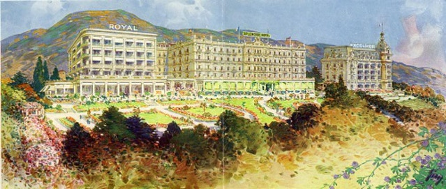 A watercolour of all three hotels.