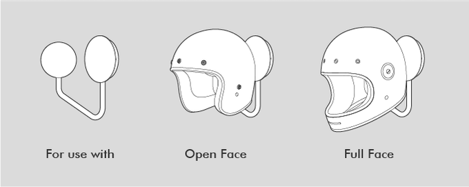 For use with open and full face helmets