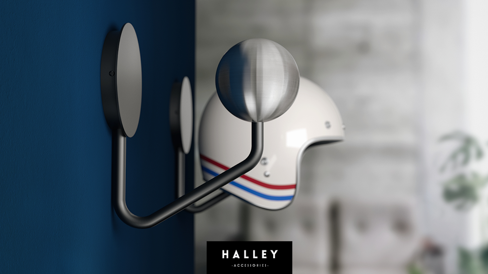 Give your helmet its own place in your home with the Halley Helmet Rack, a minimal approach to helmet storage.