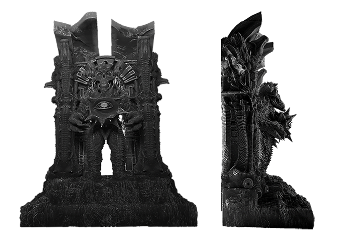 The other half of the insanely detailed and harrowing metal bookends.