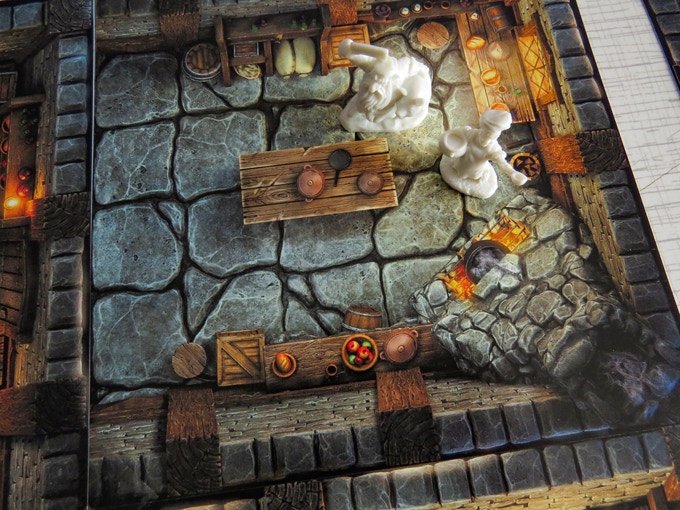 Modular Inn with unpainted Reaper miniatures in the kitchen :)