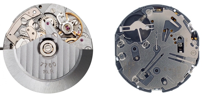 7750 Automatic (left), VK67 meca-quartz (right)