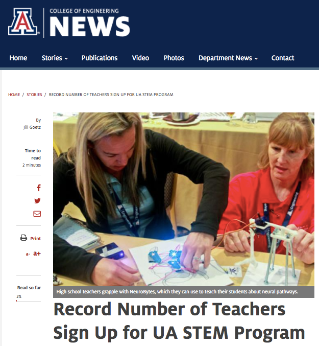 Educators from the University of Arizona ENGR102 HS workshop experimenting with NeuroBytes
