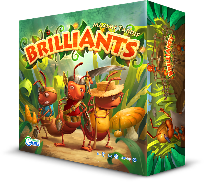 BrilliAnts is a flexible 1 to 6 player game for gamers and families where you take control of an ant colony fighting for its territory!