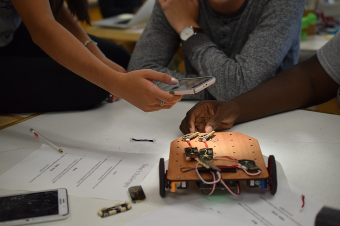 Engineering students at the Science Leadership Academy in Philadelphia experiment with their NeuroBuggy