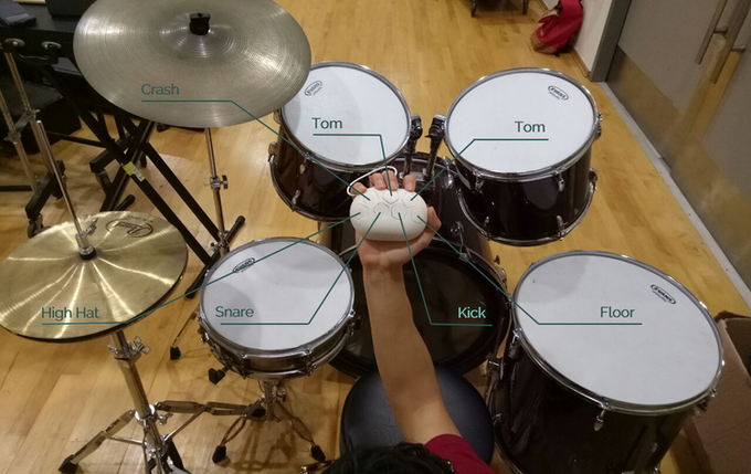 Buttons are mapped to drum positions