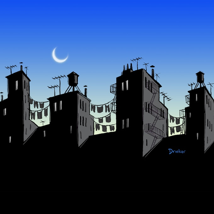 Tenement Roofscape by Eric Drooker
