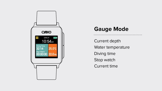 "In ""Gauge mode"", you can check your dive time, water temperature, and depth as well as current time. You can also use stop watch in this mode."