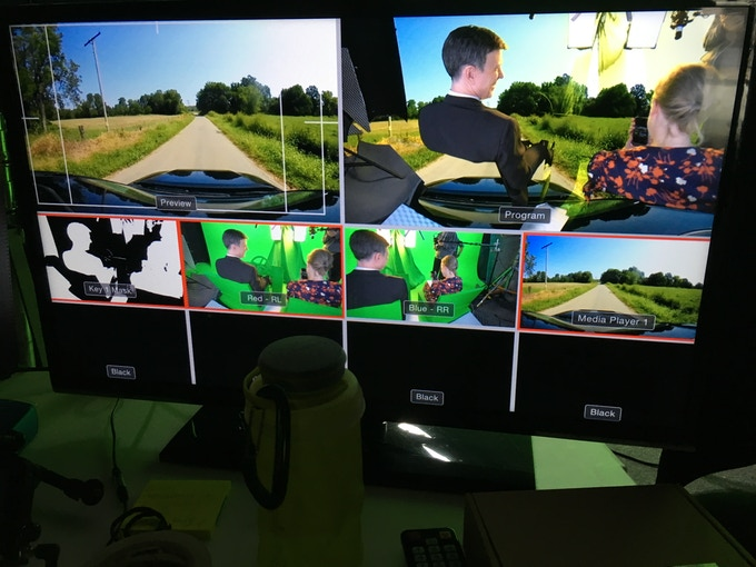 On set monitors display multiple views so that landscape, camera views and volumetric data can be tracked