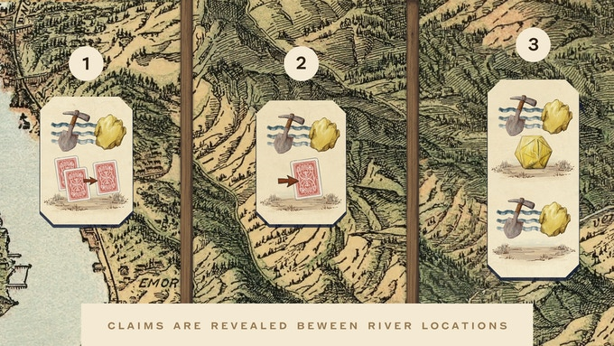 There are three river locations on the map with the action of cleaning out your box. The first two only contain one slot and the last contains two.