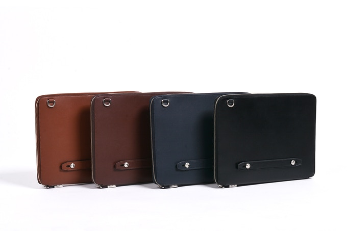 Vegetable Tanned US Top Grain Cowhide - (From left to right) Available in Tan, Dark Brown, Navy, Black