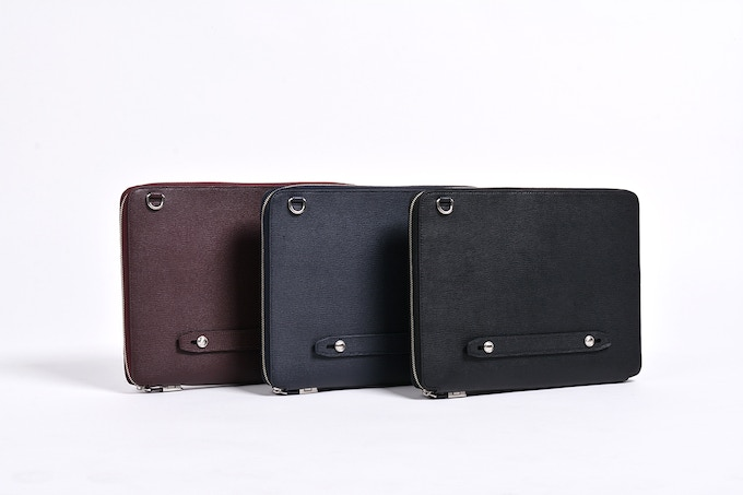 Cross Grain Embossed US Top Grain Cowhide - (From left to right) Available in Burgundy, Navy, Black