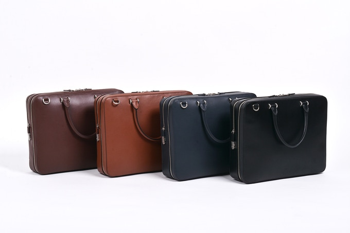 Vegetable Tanned US Top Grain Cowhide - (From left to right) Available in Dark Brown, Tan, Navy, Black