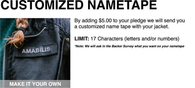 The nametape will automatically be color matched to the color of the jacket you select.