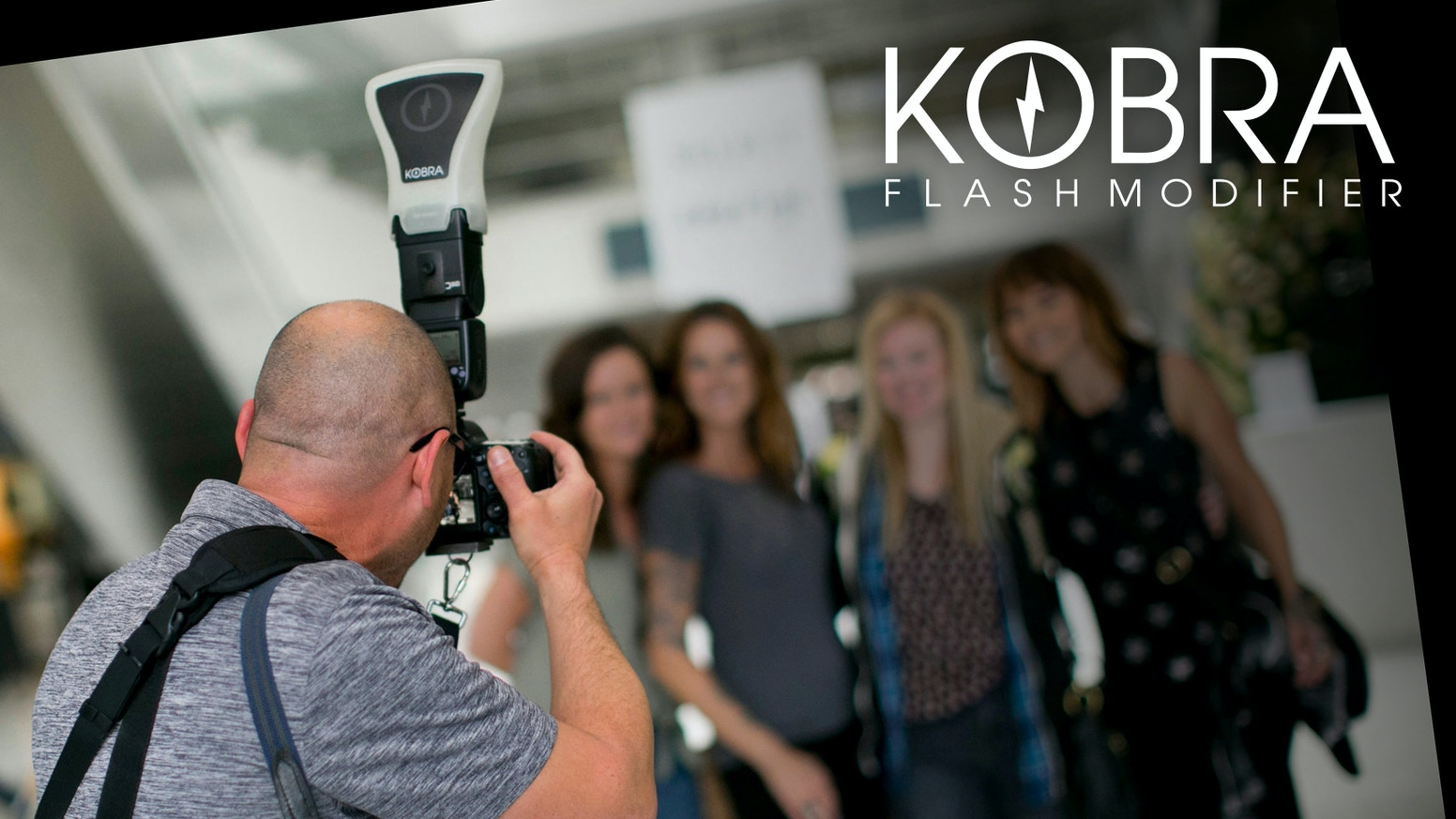 "KOBRA, the Ultimate Flash Modifier. ""Paint with light, not spray."" A lightweight Speedlight Flash Modifier/Diffuser with a built-in reflector."