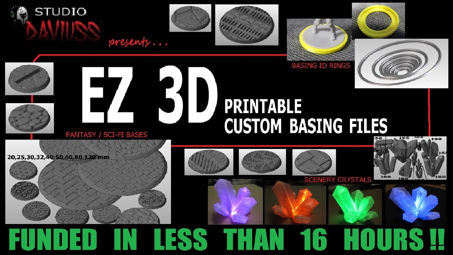 EASY-TO-PRINT 3D FILES for FANTASY & SCI-FI GAMING MINIATURES BASES in 20/25/30/32/40/50/60/80/120mm, ID RINGS, and SCENERY CRYSTALS.