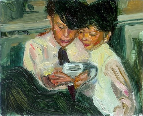 Gav and Rem playing Gameboy - Oil on Steel 2008, by Gavin Reed