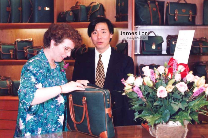James (Joe's dad) presenting one of his early creations - the DURAN collection at a Tocco Toscano boutique launch (1992)