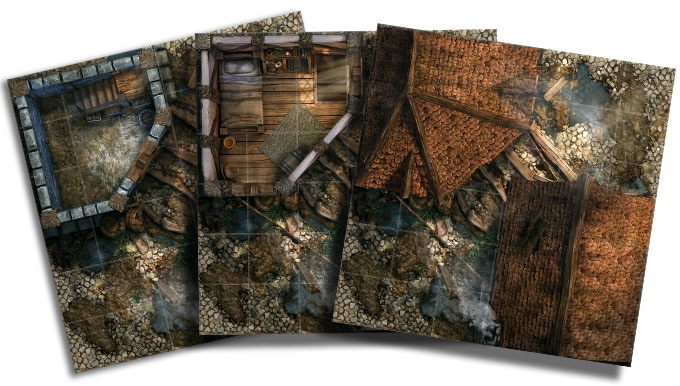 """Three levels of the same area (basement, first floor, roofs) - """"fog of war"""" on your tabletop!"""