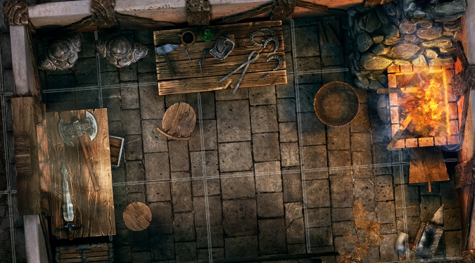 Blacksmith tile - closer view - City tiles