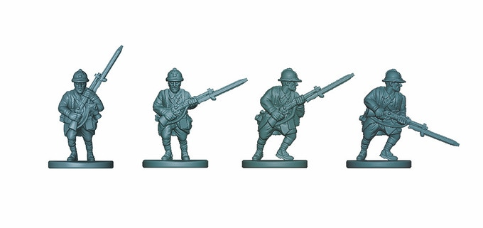 Digital sculpts of our French riflemen ... the three extra poses have now been unlocked as stretch goals!