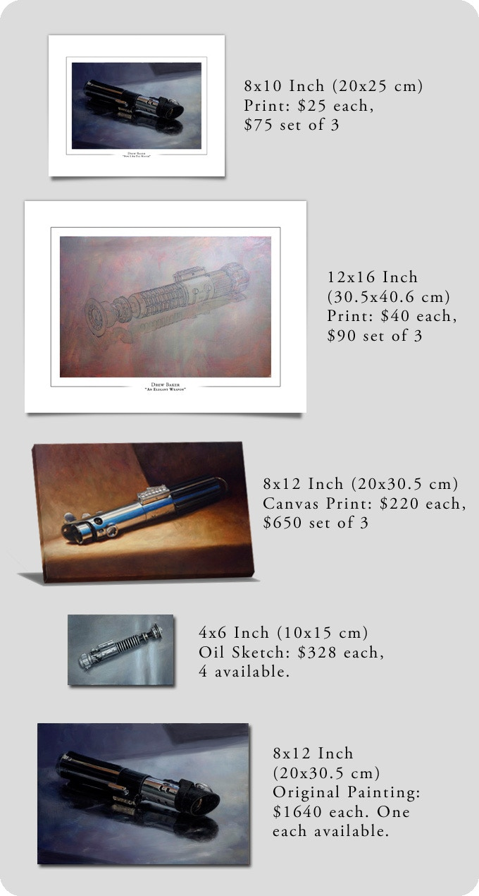 Traditional Oil Paintings Of Star Wars Lightsabers By Drew
