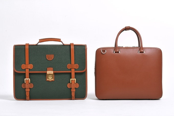 (Left) A recent photograph of the Tocco Toscano Duran Briefcase made in the early 1990s and still in perfect condition. (Right) Our updated version made with the same quality and know-how, just updated for a new generation
