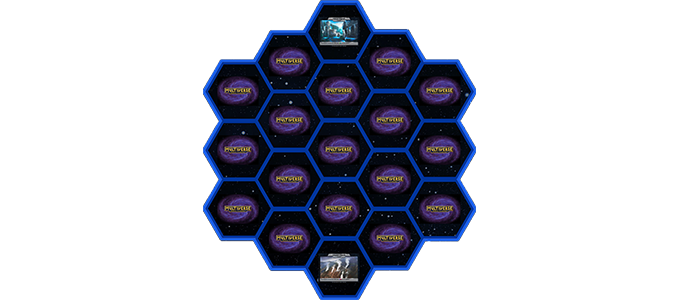 A standard 2-player galaxy with 19 hexagons, or Spaces.