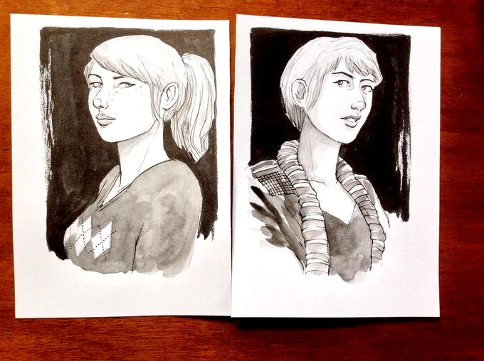 "5""x7"" black and white character sketches"