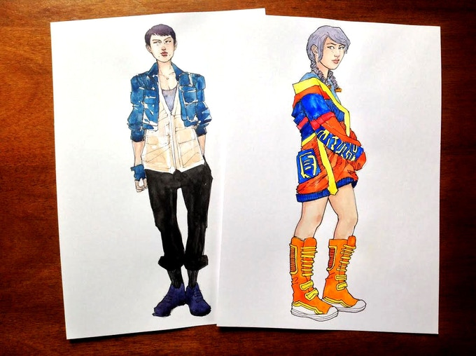"7""x10"" watercolors: Nim and Kumi, casual style"