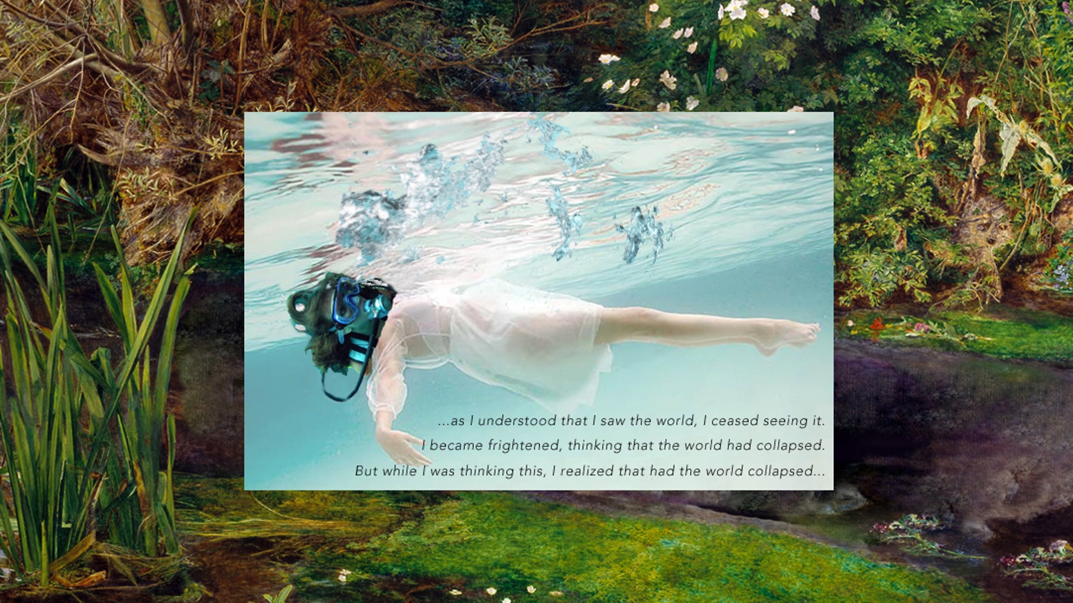 OPHELIA is an architectural live performance and video sculpture, focusing on the human destruction of the biosphere.