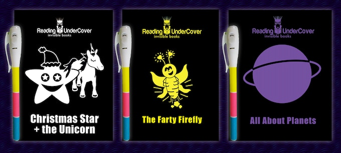 This is a mock-up of our 3 titles with our 3-colour invisible ink torch pen