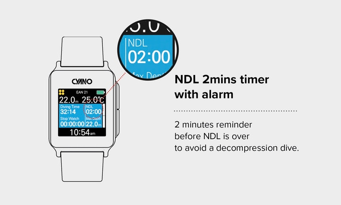 For a safe recreational dive, a diver should avoid a decompression dive. NDL 2 minutes timer with alarm tells a recreational diver to ascend before entering deco dive. Your safe diving is our best concern.