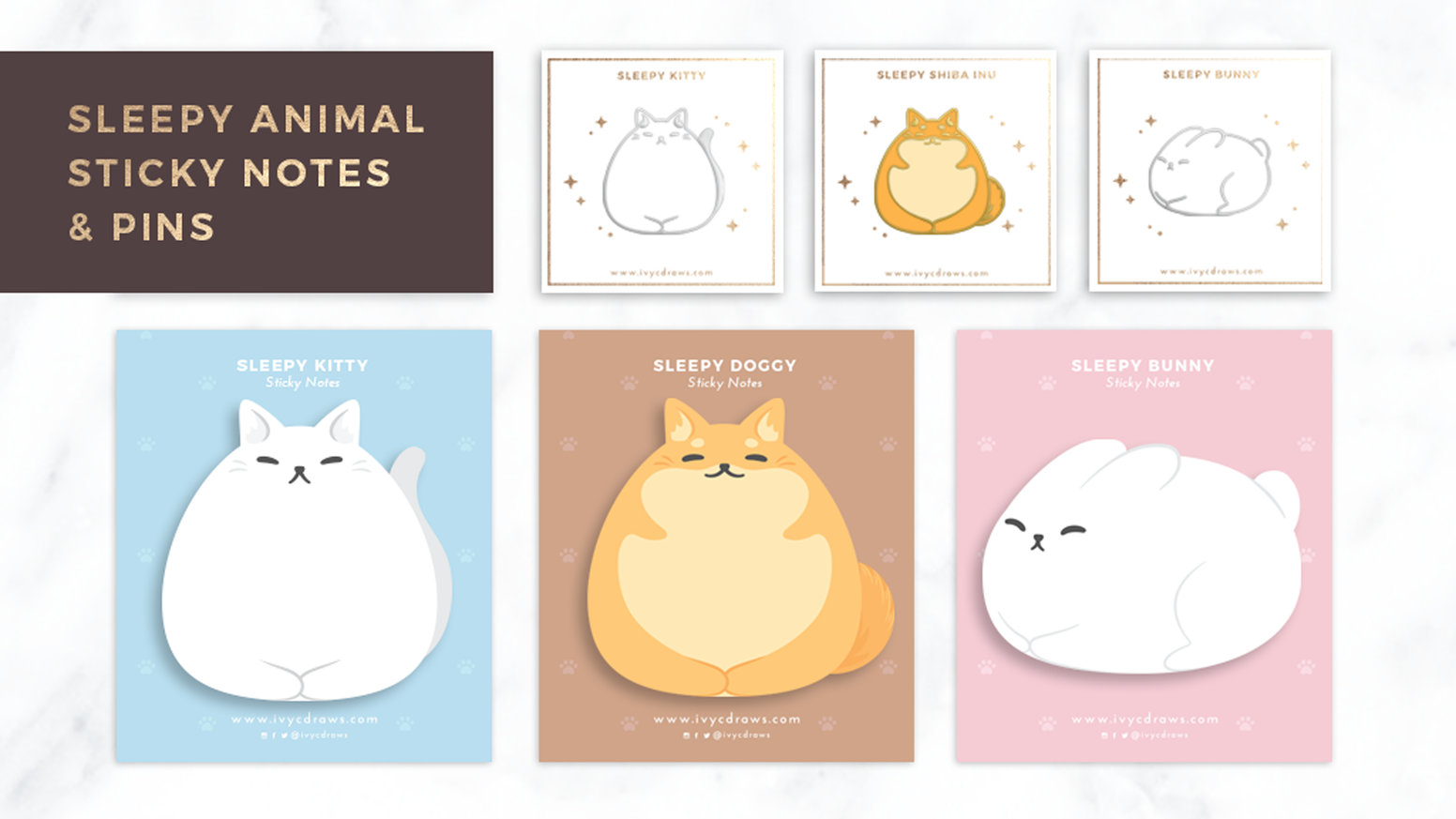 A series of cute sleepy animal sticky notes and enamel pins inspired by family pets and