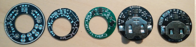 Prototypes leading up to final version, left is oldest.