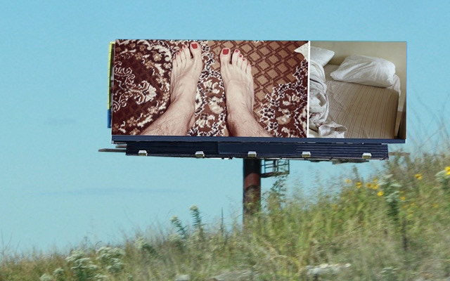 Personal photos displayed on billboards create micro-narratives about Sebastian's life