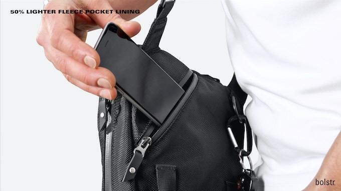 bolstr 2.0 Small Carry pocketing is 50% lighter.