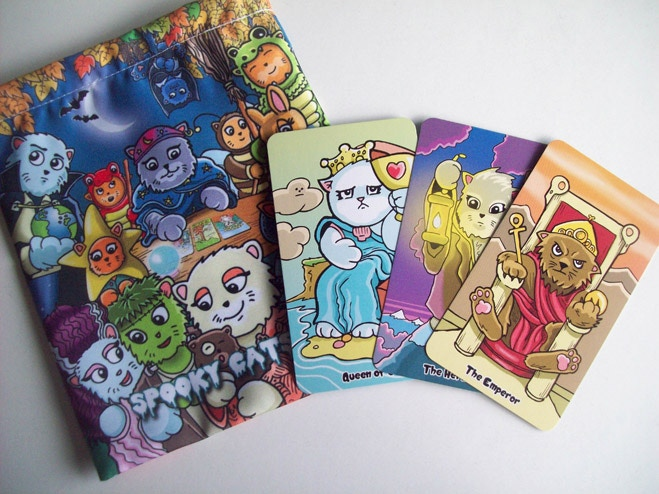 The Kiddy Katz Cards alongside one of our bags