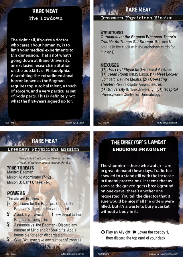 Rare Meat lowdown and mission cards, from the Hybrid Mission Pack. Design by Liz Spain, story by Mike Selinker and Teeuwynn Woodruff, and graphic design by Liz Spain, Skylar Woodies, and Aviva Schecterson.