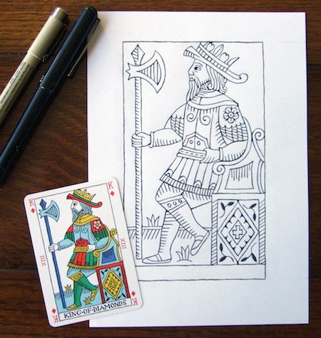 Card together with original drawing