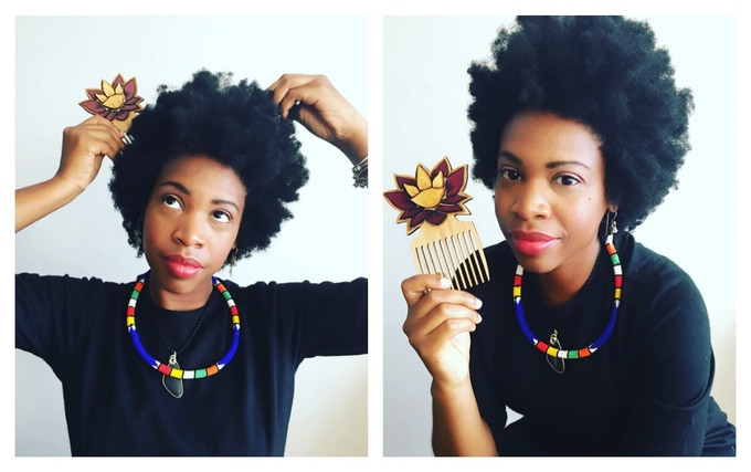 Aiysha with the AfroPixie Pick made by Carbon-Ar!