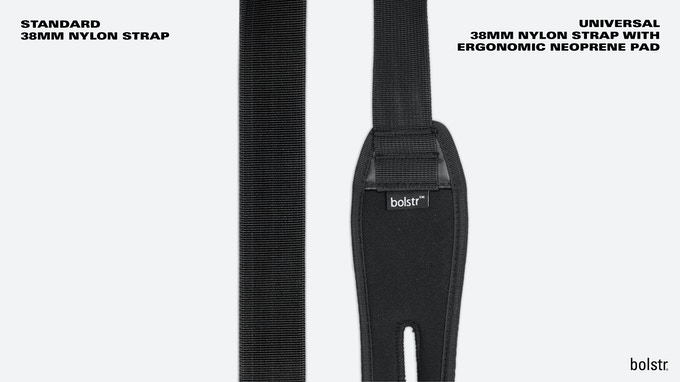 bolstr 2.0 Small Carry Straps. Standard on the left and the new Universal Strap to the right.