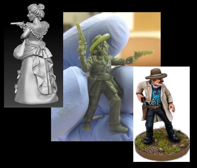 A digital render, printed prototype, and painted figure.
