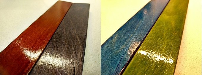 Wood dye options from left to right: Walnut Brown, Charcoal Black, Royal Blue, and Emerald Green