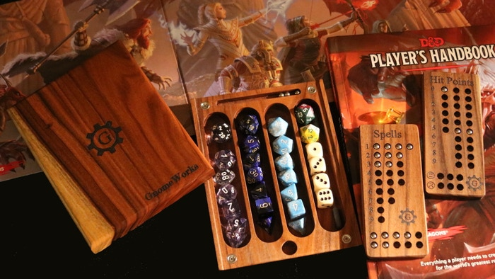 Four Set Dice Holder, HP Tracker, Spell Tracker and Rolling Tray in a wooden box for D&D 5e or Tabletop RPG games. Six wood choices!