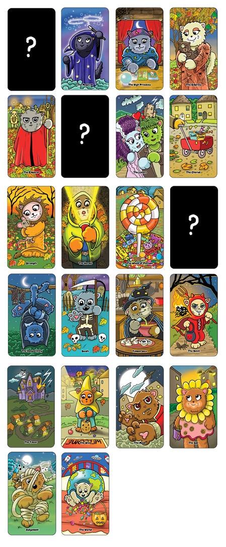 The Majors so far for the Spooky Cats Tarot
