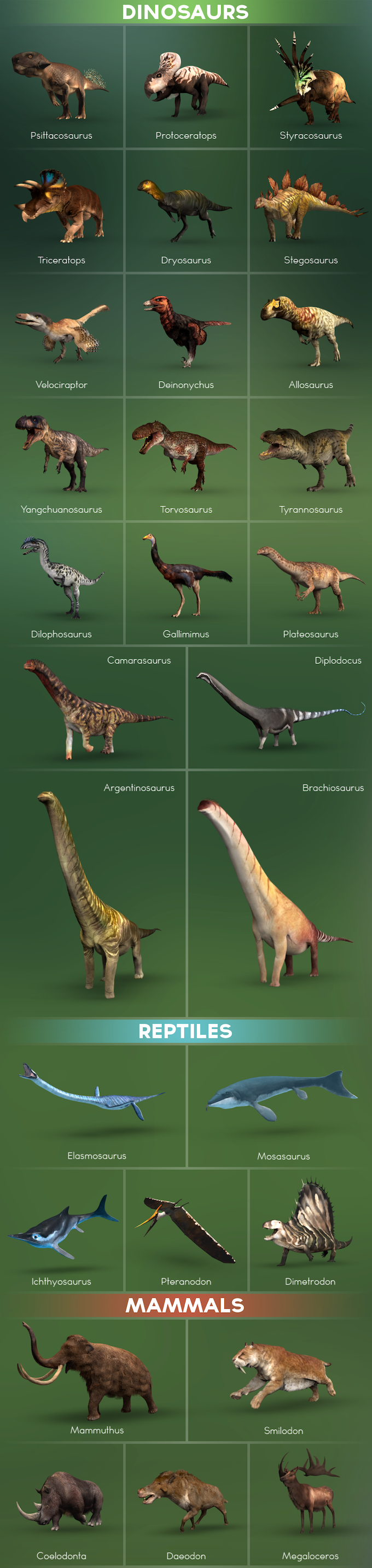 A collection of animals that will be available during Early Access! (Note: Aquatic and aerial creatures will arrive in content updates)