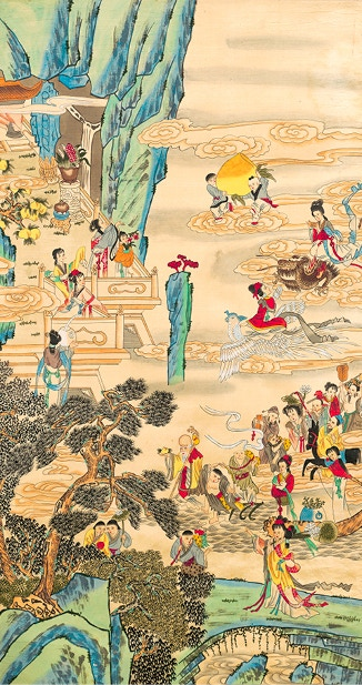 Chinese art depicting reishi in the temple of the god and goddesses